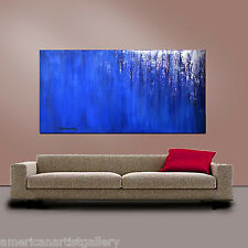 LARGE ABSTRACT 24X48 Impasto Original Painting Blue Waterfall by Thomas John