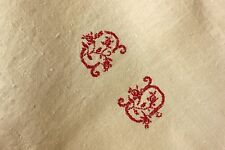 Vintage  linen French homespun CD mono sheet HEAVY warm toned old sheet