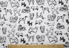 SNUGGLE FLANNEL*BLACK SKETCHES of DOG BREEDS on WHITE 100% Cotton Fabric NEW BTY