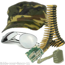 Mens Boys Army Soldier Kit Cap Bullet Belt DogTag Glasses Fancy Dress Camouflage