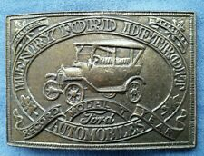 """Vintage Henry Ford Automobiles Belt Buckle Record Year Model """"T"""" Detroit"""