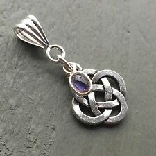 925 Iolite Charm & Tibetan Silver Celtic Knot 4 Elements Pendant Wicca Pagan