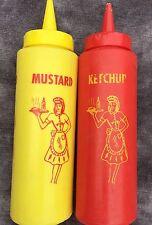 Vintage Retro Ketchup Mustard Plastic Squeeze Bottle Diner Set Bloomfield Ind.