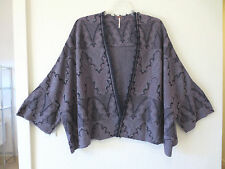 NEW Free People Loose Knit Shawl Open Front Jacket, Purple/MauveBlack LG (to 2X)