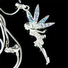 w Swarovski Crystal Fairy Tinker Bell ~PURPLE Tinkerbell~ ANGEL Pendant Necklace