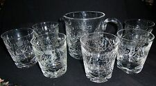 Royal Brierley Elizabeth II Coronation Jug & Six Glasses - superb cuts  and rare