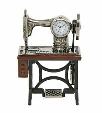 ANTIQUE STYLE SEWING MACHINE STAINLESS STEEL NOVELTY CLOCK VINTAGE SINGER STYLE