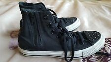 Girls Womens Black Converse Zip Up Hightop Trainers Glitter Detailing Size 3/4