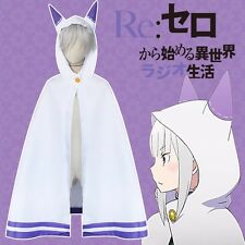 Anime Re:Zero kara Hajimeru Isekai Seikatsu Emilia Cosplay Costumes Cloak Cape