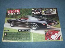 """1974 Buick GS 455 Vintage Info Article """"Stock File"""" Gran Sport"""