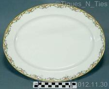 "Antique Vignaud Limoges France  China THE MEUSE Pink Flowers 12"" Oval Platter FF"