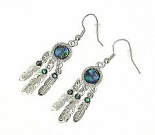 Beautiful Natural Inlaid Abalone Paua Shell Dreamcatcher Earrings - Gift Boxed