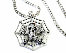 Custom Skull And Bone Spyder Web Pendant With Black Daimonds by Sacred Angels