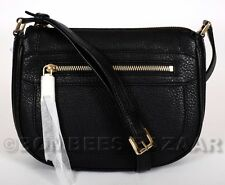 ❤️NWT AUTH MICHAEL KORS JULIA LEATHER MEDIUM MESSENGER BLACK 30S6GJQM2L❤️
