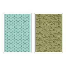 SIZZIX TEXTURED IMPRESSIONS Embossing Folders  SMILE & PLUS SET 659785 REDUCED