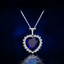 Classic Women Charm Heart Blue Crystal Rhinestone Pendant Chain Necklace Jewelry