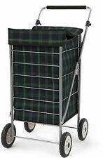 Large 4 Wheel Shopping Trolley Tartan Clothes Adjustable Handle Wheeled Cart Bag