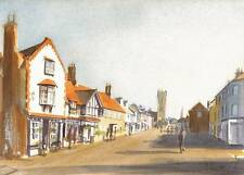ENGLISH TOWN Watercolour Painting WYLES 1993 IMPRESSIONIST