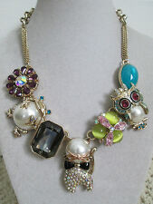 NWT Auth Betsey Johnson Pearl Critters Cat Frog Owl Charm Station Chain Necklace