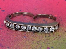 Double 2 Finger Pave Brass Knuckle Ring Rhinestone Bar Statement Ring