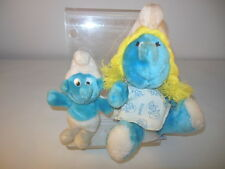 1F Pair Of SMURFETTE & Smurf Plush Doll Figures 1981 With TAG!