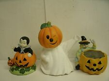 Lot of 3 Halloween Candle Holders Ceramic Pumpkin Head Ghost, Kid Dracula Witch