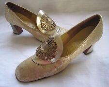 Prizzani Firenzi Edwardian Medallion Brocade Fabric Heels Shoes Womens 7 Itay
