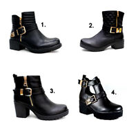 New Womens Ladies Gold Buckles Zip Black Ankle Cut Out Block Mid High Heel Shoes