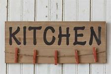 Country new wood KITCHEN wall plaque w/clothespin clips