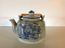 Japan Decorative Teapot with Bamboo Handle Grey & Blue Floral