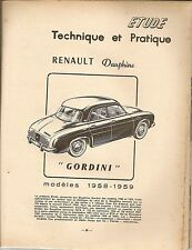 REVUE TECHNIQUE AUTOMOBILE 167 RTA 1960 RENAULT DAUPHINE GORDINI R1091 1958 1959