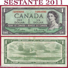 CANADA  1 DOLLAR 1954 -  Serie IO - Sign Beattie & Rasminsky -  P 74b -  BB / VF