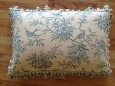 """Yellow Toile Accent Pillow Cover with Birds 15.5"""" x 22"""""""