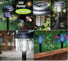 SOLAR UV BUG ZAPPER + LED LIGHT Bright Insect Mosquito Killer No Wiring NEW