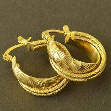 Fashion Jewelry Yellow Gold Plated Womens Vintage Round Hoop Earrings