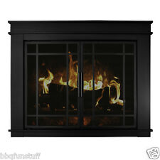 Pleasant Hearth Fillmore Glass Fireplace Door Midnight Black w/Door Screens Sm
