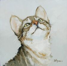 Original Oil painting - portrait of a cat  - by j payne