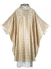 "MRT Gold Jacquard Satin Chasuble Priest Mass Church Vestment 51"" L w/ Understole"