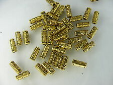 50 PERLE TUBES ARGENT TIBET DORE 2.5X6.5mm-neuf     A601