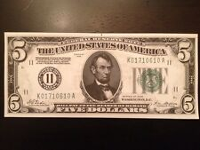 Reproduction United States $5 Bill Federal Reserve Note Dallas 1928 Five Lincoln