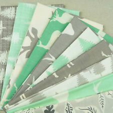 Woodland Fabric Pack / quilting cream grey green stag forest tree deer reindeer