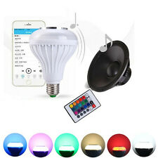 E27 Remote Control Lamp Bulb Speaker Bluetooth 3.0 Music LED White+RGB Light