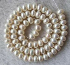 """AAA White Freshwater Pearl Roundel Loose Beads 7-8mm 15"""" Strands"""