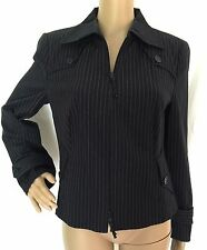 Akris Punto Blue Pinstripe Cotton Blend Zipper Jacket Size 12 - EUC