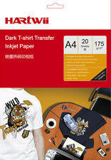 20 Sheets  A4 Iron On T-Shirt Transfer Paper Dark Fabric For Inkjet Printer