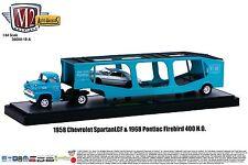 M2 Machines Auto Hauler 1:64 1958 Chevy Spartan LCF '68 Pontiac Firebird 400 HO