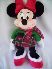 Disney Store Minnie Mouse Plush Winter/ Christmas soft plaid outfit 18""