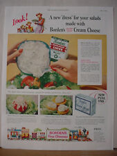 1953 Borden's Dairy Creem Cheese Cows Elsie Elmer and Kid Vintage Print Ad 10456