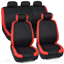"""""""Venice"""" Series Black & Red Seat Covers for Car Two Tone Design Front & Rear"""