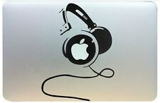 Head phones vinyl sticker for Mac Book/Air laptops. Black decal.